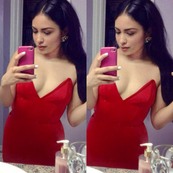 dress v neck dress strapless red dress sexy dress boning