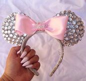 hair accessory,minnie mouse,disney,sparkle,pink,diamonds,headband,glitter,girly,bow,rose,❤️,cute,mickey mouse,silver glitzer,silver glitter,hair bow,accessories,Accessory,gorgeous,girly wishlist,silver,silver jewelry,princess,beautiful,diadem,nails,nail art,jewels,mickey mouse headband,pink bow