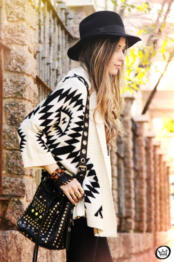 cardigan beige tribal pattern tribal cardigan oversized cardigan chunky cardigan celebrity style fashion streetstyle