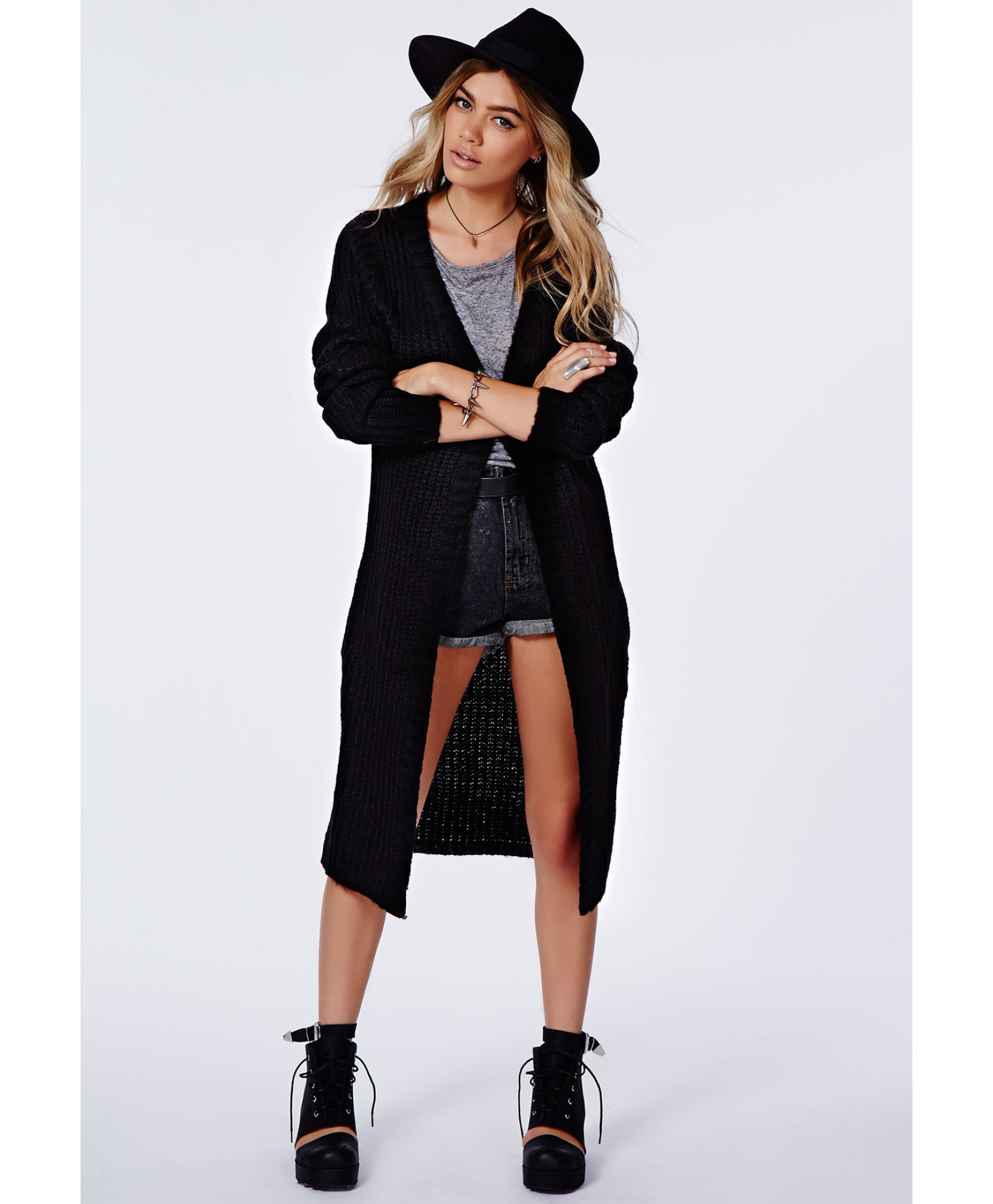 Missguided - Arin Longline Chunky Knit Cardigan Black