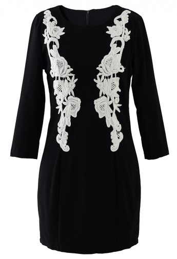 Black Crochet Floral Shift Dress - Retro, Indie and Unique Fashion