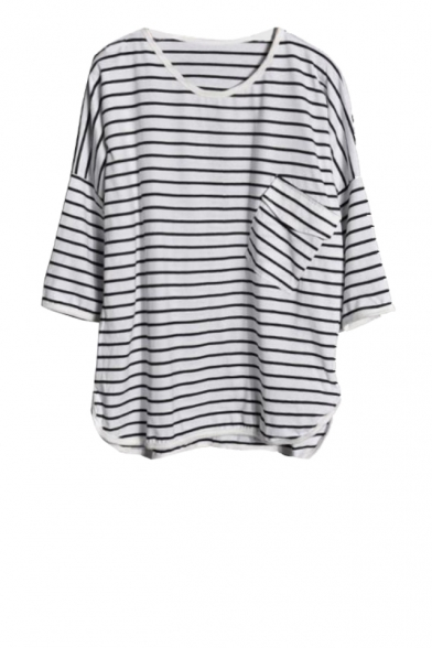 Stripe print 1/2 batwing sleeve dipped hem top with pocket
