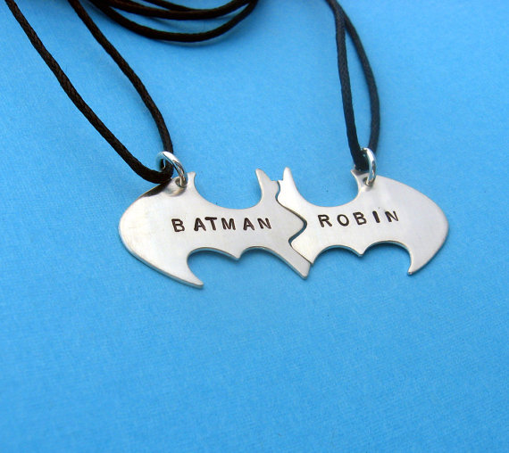 Batman Best Friend necklaces Personalized by VisionQuest on Etsy