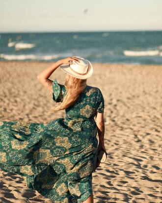 dress french girl hat printed dress flowy dress flowy sun hat green dress maxi dress