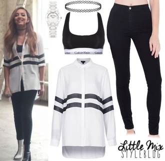 blouse jade thirlwall black and white shirt striped shirt