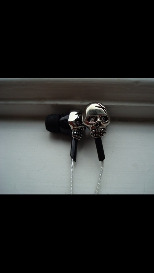sunglasses black earphones skull silver