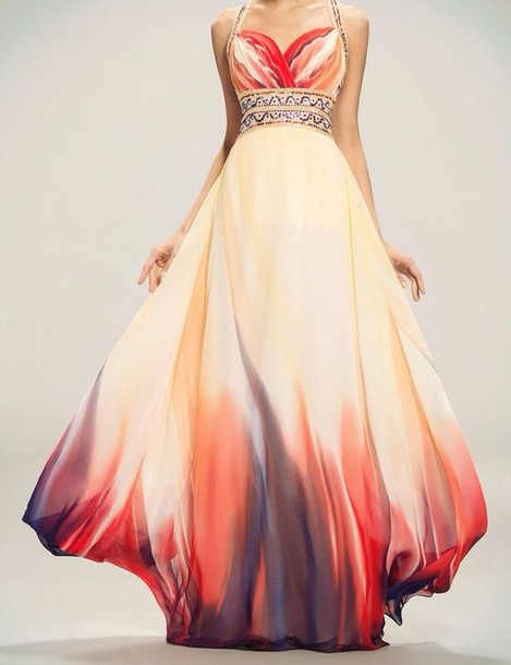 dress orange dress ombre dress prom dress