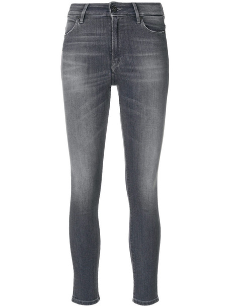 jeans skinny jeans cropped women spandex cotton grey