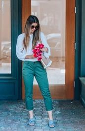 pants,blouse,white blouse,shoes,mules,bag,sunglasses,capri pants,khaki pants,khaki