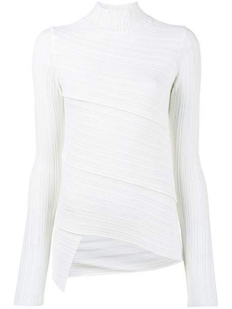 Proenza Schouler turtleneck women white wool knit sweater
