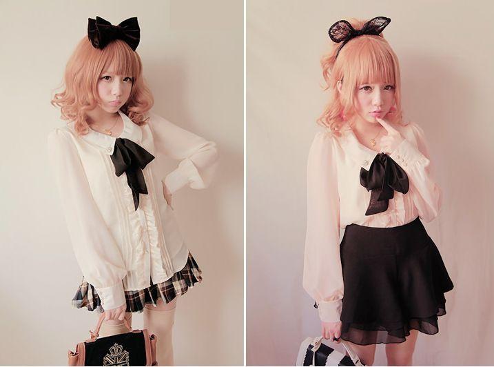 Liz lisa and bobon21 cute lolita college bow pearl chiffon shirt blouse