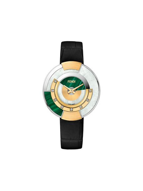 Fendi - Policromia watch - women - Gold/Aligator Leather/Mother of Pearl/Diamond - One Size, Black