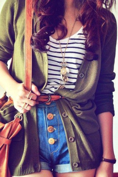 shorts green cardigan belted stripes gold buttons High waisted shorts denim shorts sweater button up high waisted buttoned up striped shirt shoulder bag green cardigan belt bag shirt High waisted shorts denim shorts sailor shorts jeans denim shorts cute outfi cute outfits love