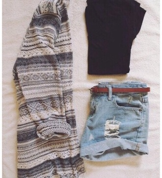 tank top jacket flannel black shorts denim belt denim shorts plaid grey fall outfits outfit tumblr tumblr outfit weheartit top crop tops black top sexy grunge boho