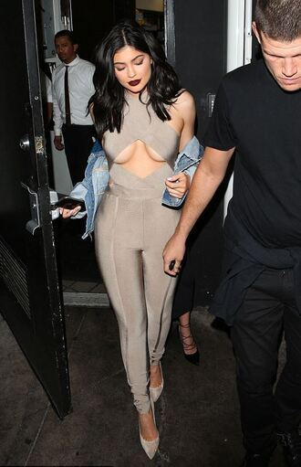 jumpsuit nude pants leggings skinny kylie jenner kardashians cut-out top edgy sexy pumps grey beige velvet nude heels heels pointed toe sexy jumpsuit