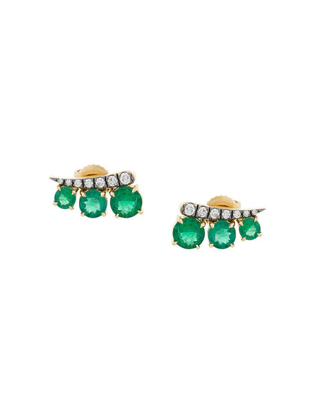 Jemma Wynne women earrings stud earrings gold green yellow jewels