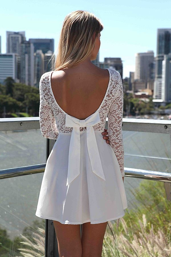 dress ustrendy ustrendy dress Bow Back Dress white dress little white dress bow bows