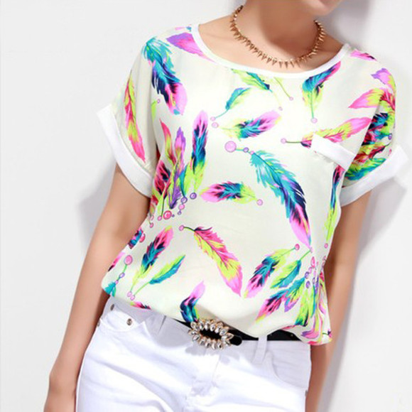 chiffon feathers colorful t-shirt