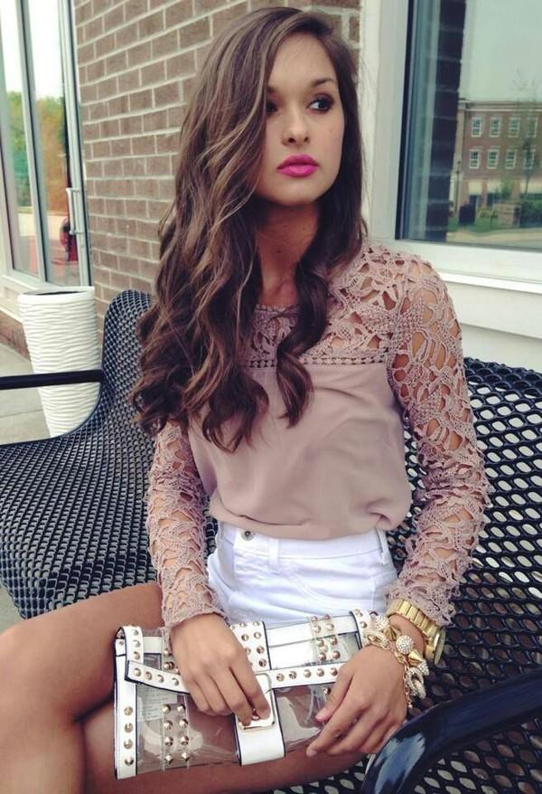 blouse shorts top bag white spiked designer bag brown shirt cute nude shirt