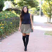 district dress up,blogger,shoes,skirt,bag,jewels,sunglasses,blue top,turtleneck,suede,suede skirt,knee high boots,suede boots,black boots,shoulder bag