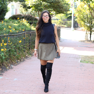 district dress up blogger shoes skirt bag jewels sunglasses blue top turtleneck suede suede skirt knee high boots suede boots black boots shoulder bag