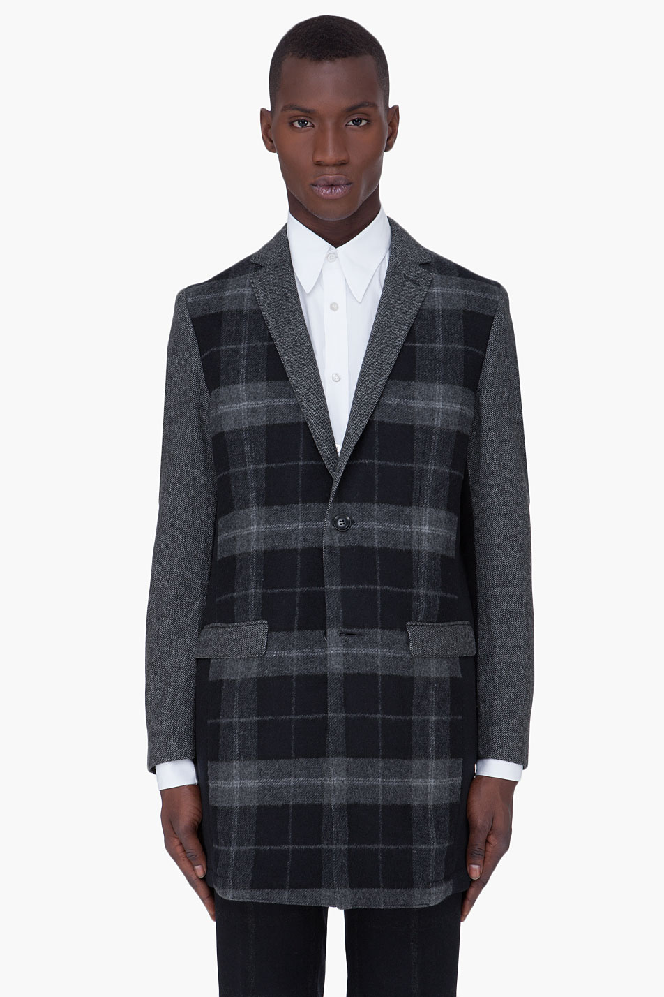 Edun black mixed wool plaid overcoat
