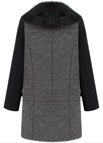 Black Grey Lapel Long Sleeve Woolen Coat - Sheinside.com