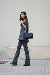 fashion vibe,blogger,shoes,comfy,charcoal,minimalist,wide-leg pants,pants,bag,top