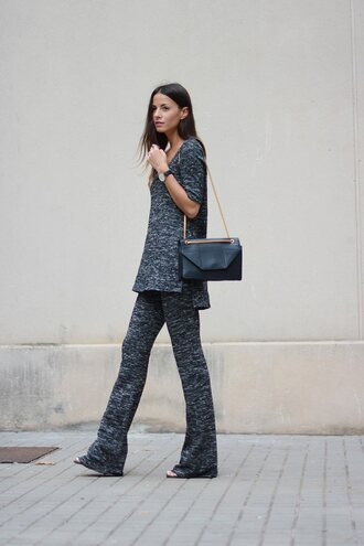 fashion vibe blogger shoes comfy charcoal minimalist wide-leg pants pants bag top