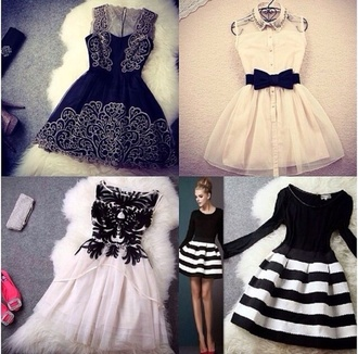 black and white black and white dress bowa bows stripes black and white stripes navy navy dress short dress fancy collared dress vintage fur faux fur white dress black dress long sleeve dress flare skater skater skirt skater dress a line a line dress winter outfits fall outfits winter dress fall dress