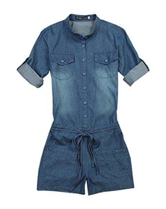 com: Stylishelf Women's Casual Short Sleeve Elastic Waist Denim ...