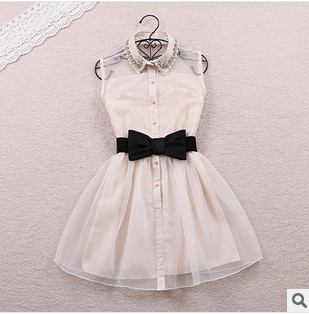 Free Shipping Gauze Dress For Women Mini Slim Diamond High Waist Beading Bow Sashes Cute Fashion Style New 2013 Summer Design-in Dresses from Apparel & Accessories on Aliexpress.com
