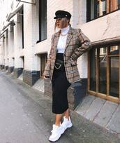 bag,belt bag,chain bag,leather bag,midi skirt,black skirt,turtleneck,check blazer,oversized jacket,white sneakers,fisherman cap,round sunglasses,necklace