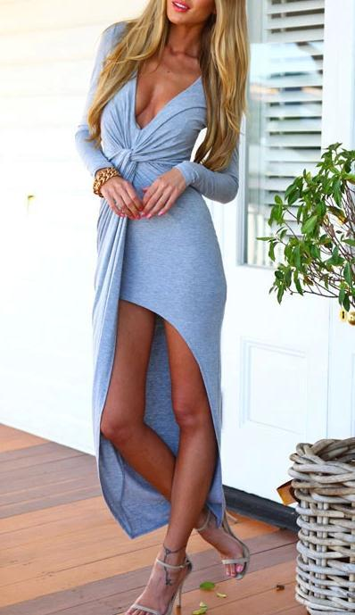 Neck split long dress fashion sexy cultivate one's morality