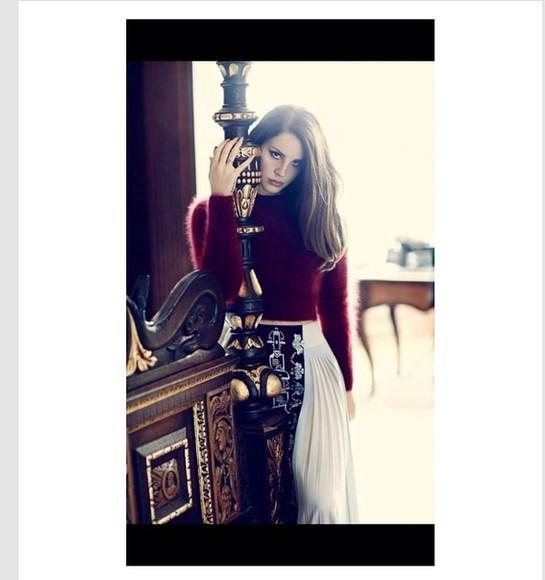 lana del rey fuzzy burgundy grunge hipster fuzzy sweater 90s style maroon/burgundy