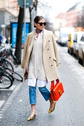 le fashion image,blogger,sunglasses,coat,bag,jeans,shoes,work outfits,office outfits,orange,camel coat,nude coat,fall outfits,tortoise shell sunglasses,tortoise shell,white shirt,kitten heels,masculine coat,beige coat,french girl style