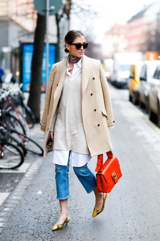 le fashion image blogger sunglasses coat bag jeans shoes work outfits office outfits orange camel coat nude coat fall outfits tortoise shell sunglasses tortoise shell white shirt kitten heels masculine coat beige coat french girl style