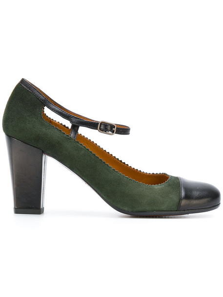 women pumps leather green shoes