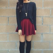 t-shirt,jewels,socks,skirt,pajamas,sweater,black,knitted sweater,bordeaux skirt,skater skirt,over the knee sock,knee black socks,knee high socks,nechlace,gold necklace,red,browny red,dark red,short,long,burgundy skirt,tumblr skirt,dress,black sweater,cute,red skirt,mini skirt,pleated skirt,circle skirt,cute outfits,shirt,long sleeves,necklace,oversized sweater,fall outfits,fall sweater,autumn/winter,date outfit,top,stylish,burgundy