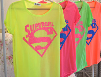 t-shirt supergirl fluor cool super girl superman shirt
