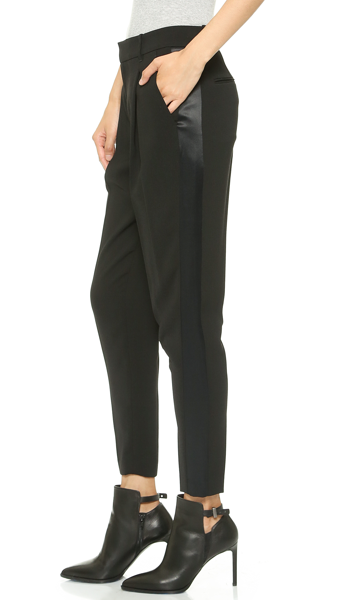 Vince satin strapping trousers