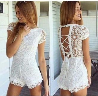 jumpsuit haute rogue romper white lace romper jet romper crochet crocheted open back partial open back open backed dress white romper white jumper