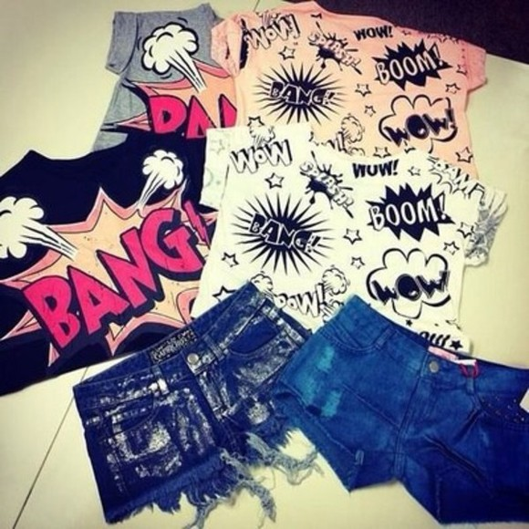 shirt bang comic crop tops cropped top
