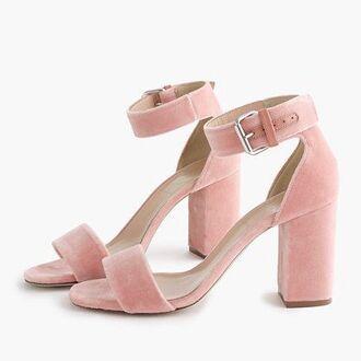 shoes pink sandals velvet sandals sandals strappy heels