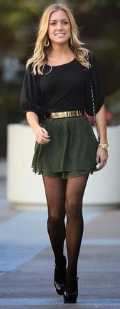 blouse,black blouse,skirt,belt,cute,winter outfits,army green,black,gold,mini skirt,green skirt,gold belt,shirt,black top,three-quarter sleeves