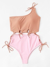 swimwear,girly,lace,one piece swimsuit,one piece,lace up,one shoulder,nude,pink,cute