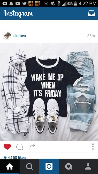 shirt black outfit hipster urban t-shirt grunge grunge t-shirt black and white quote on it outfit idea tumblr outfit black t-shirt friday adidas superstars ripped jeans denim jeans