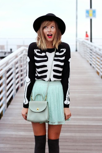steffy's pros and cons blogger bag halloween skeleton mint knee high socks t-shirt