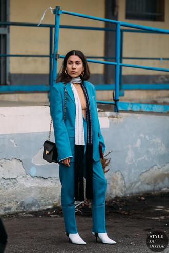jacket blazer blue blazer pants blue pants boots white boots scarf bag black bag shoulder bag