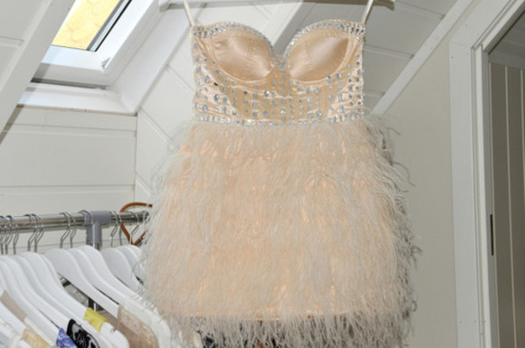 fringe fringes dress feathers studs diamonds peach white silver gorgeous stunning crystals crystal